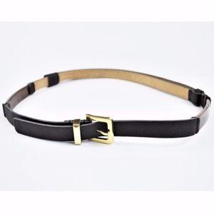 CHICO'S Brown Leather Skinny Belt Adjustable M/L